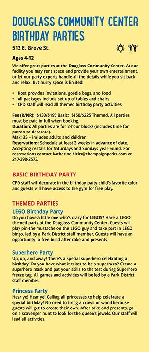 DCC Birthday parties