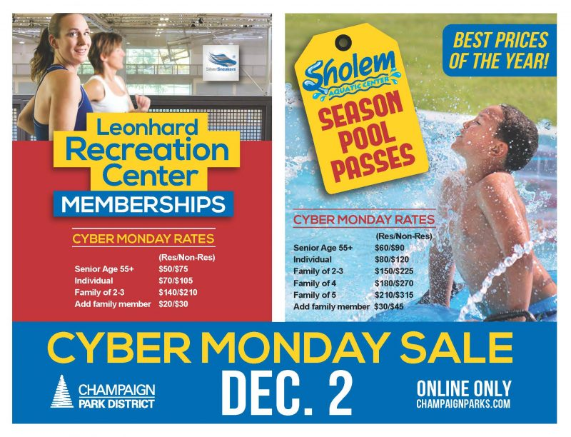 Leonhard Recreation & Sholem Aquatic Center Cyber Monday Pass Sale. December 2