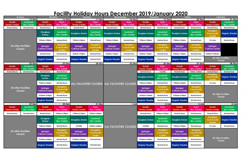 Facility Holiday Hours December 2019/January 2020