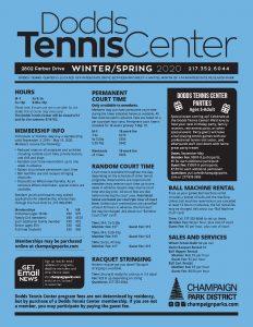 Click for full Winter/Spring 2020 Dodds Tennis Center Brochure