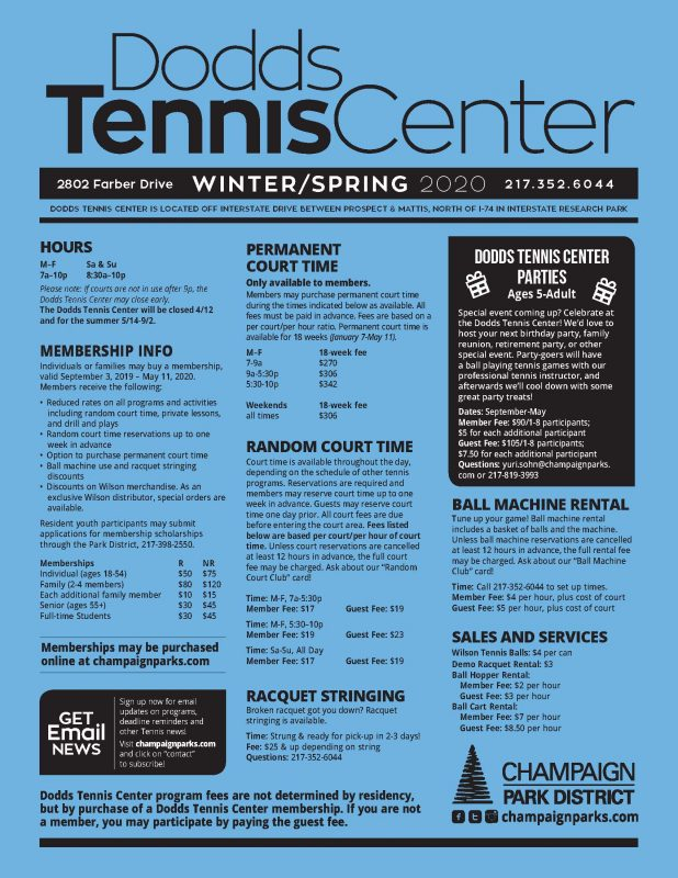 Click for full Winter/Spring 2020 Dodds Tennis Center Brochure