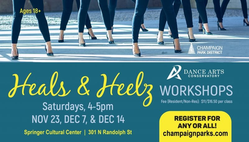 Heals & Heelz Workshop. Saturdays, 4-5pm. November 23, December 7, & December 14