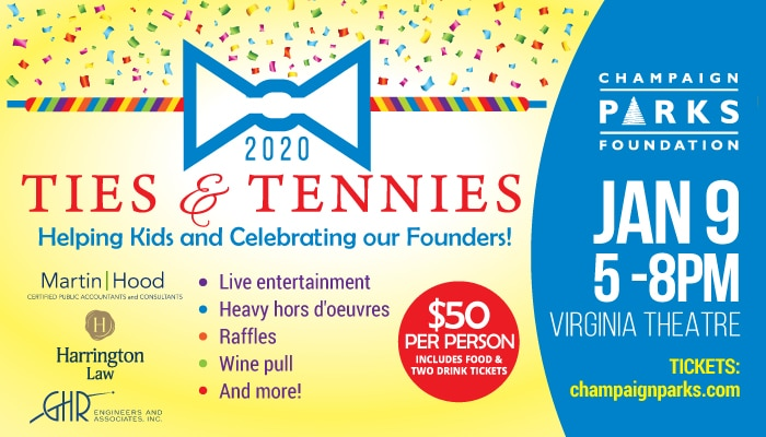 Ties & Tennies: Helping Kids. January 9 5p-8p Virginia Theatre. $50 per person includes food & two drink tickets