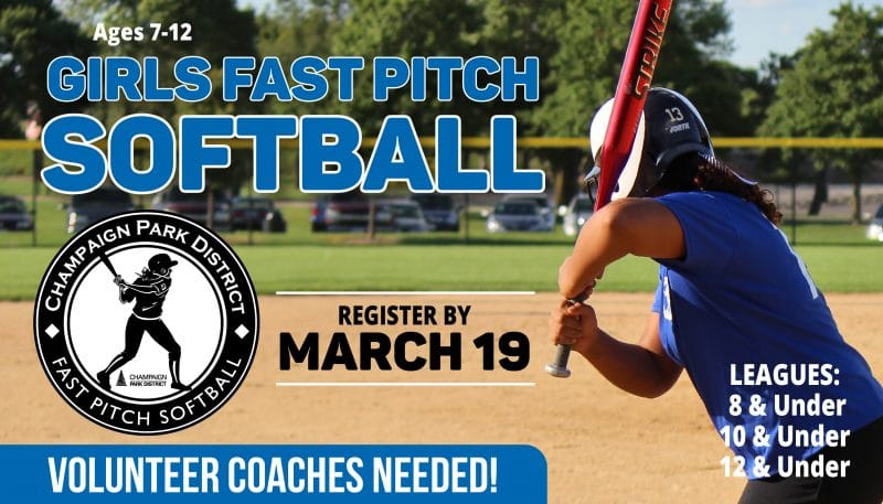 Girls Fast Pitch Softball. Register by March 19. Volunteer Coaches Needed!