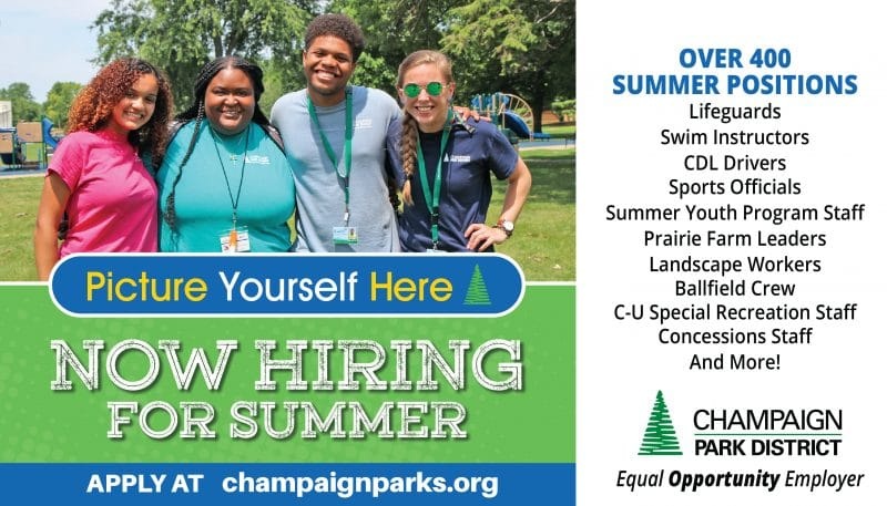 Picture yourself here! Now Hiring For Summer. Over 400 summer positions. Lifeguards, swim instructors, CDL Drivers, Sports Officials, Summer Youth Program Staff, Prairie Farm Leaders, Landscape Workers, Ballfield Crew, CUSR Staff, Concessions, and more!
