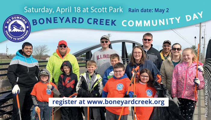 Boneyard Creek Community Day. April 18 at Scott Park. Rain date: May 2