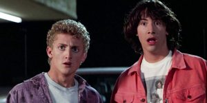 Bill & Ted facing the camera with confused and shocked looks on their faces.