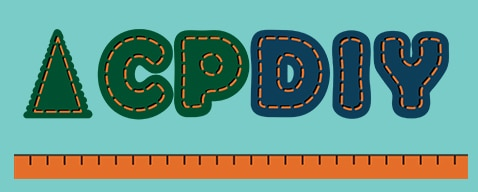 CPDiy Logo: letters look like they were embroidered on pale blue fabric with felted letters.