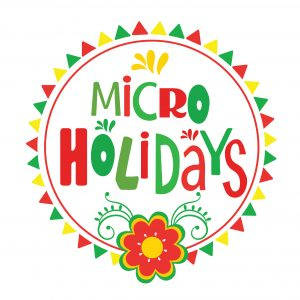 Micro Holidays Logo: Green, Red, and Yellow triangles circle text with points facing outward. Bottom has red, green, and yellow flower with fine lined leaf detail coming off as vines.