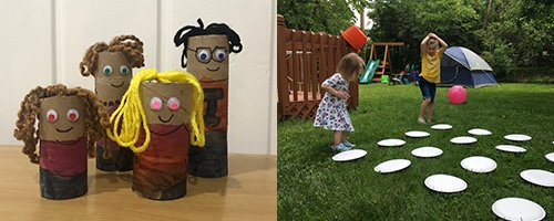 left side: crafted family made of toilet paper tubes, yarn, and googly eyes. Right side: 2 girls standing behind a memory game set up outside in back yard. 4 rows of 4 paper plates line up in front of them. One girl has hands on head in confusion.