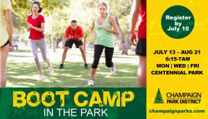 Boot Camp in the Park: July 13-August 21. 6:15a-7a. Centennial Park. Register by July 10
