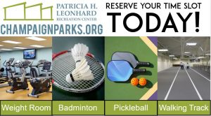 Click to visit Leonhard Recreation Center Website. Reserve your time slot today! Weight Room, Badminton, Pickleball, Walking Track.